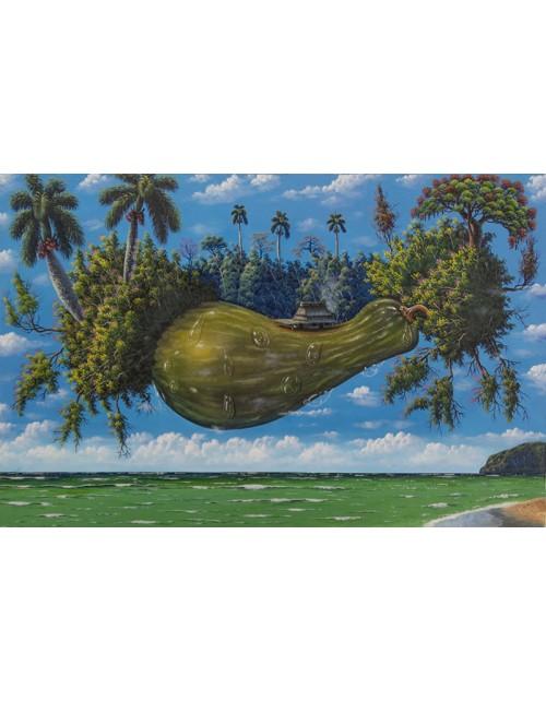 Cuadro cubano, isla en el caribe